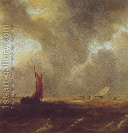Sailing vessels in a choppy sea by Jacob Van Ruisdael - Reproduction Oil Painting