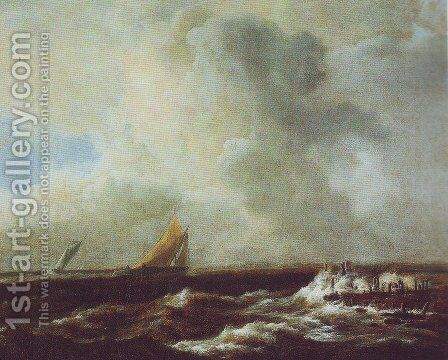 Sailing vessels in a fresh breeze by Jacob Van Ruisdael - Reproduction Oil Painting
