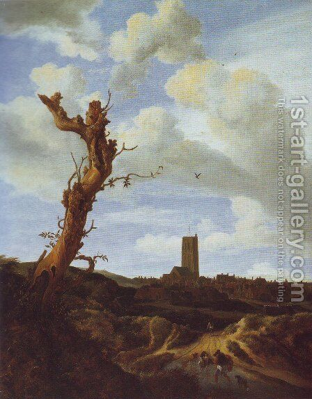 View of egmond aan zee with a blasted elm by Jacob Van Ruisdael - Reproduction Oil Painting