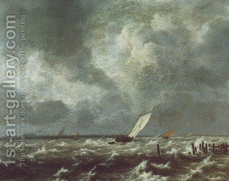 View of het lj on a stormy day by Jacob Van Ruisdael - Reproduction Oil Painting