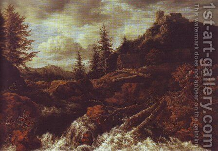 Waterfall in a mountainous landscape with a ruined castle by Jacob Van Ruisdael - Reproduction Oil Painting
