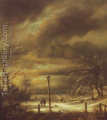 Winter landscape with a lamp-post and a distant view of haarlem by Jacob Van Ruisdael - Reproduction Oil Painting