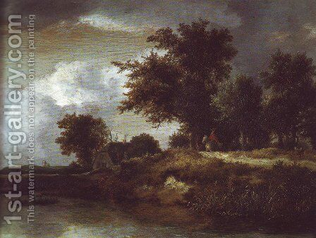 Wooded river bank by Jacob Van Ruisdael - Reproduction Oil Painting