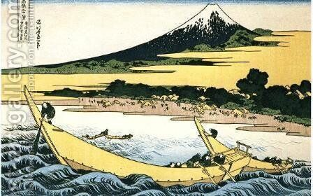 A Fishing Boat with Mt Fuji by Katsushika Hokusai - Reproduction Oil Painting