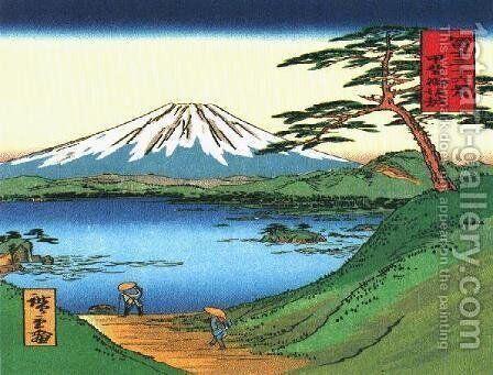 A Green Hilly View of Mt Fuji over a Lake by Katsushika Hokusai - Reproduction Oil Painting