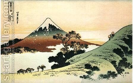 Inume Pass in Kai Province by Katsushika Hokusai - Reproduction Oil Painting