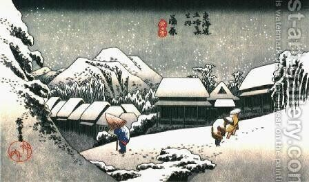Winter Evening in Japan by Katsushika Hokusai - Reproduction Oil Painting