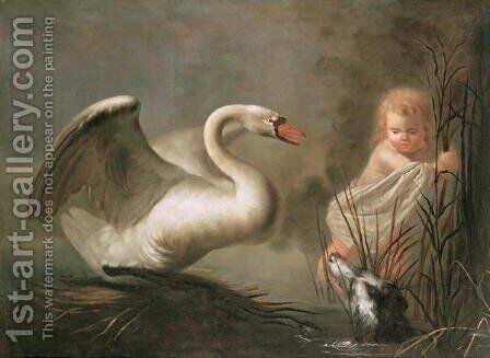 A Swan guarding its Nest from a Child and a Spaniel by Henry Herbert La Thangue - Reproduction Oil Painting