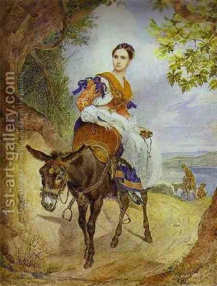 Portrait of O P Ferzen on a Donkeyback by Jules Elie Delauney - Reproduction Oil Painting