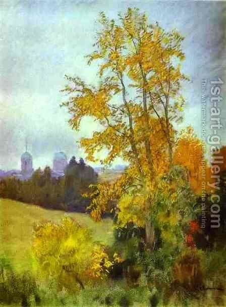 Autumn Landscape with a Church 1890 1899 by Isaak Ilyich Levitan - Reproduction Oil Painting
