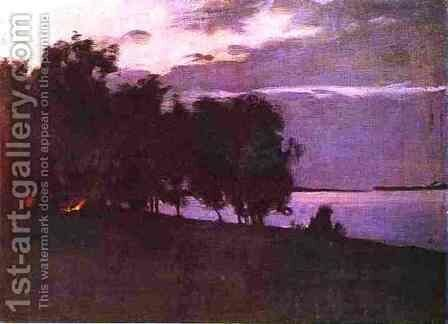 Bonfire 1890 1899 by Isaak Ilyich Levitan - Reproduction Oil Painting