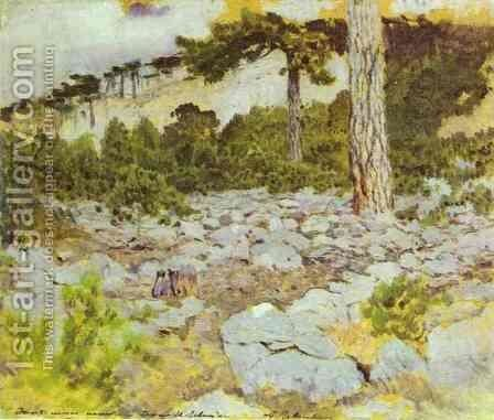 Crimea In the Mountains Study 1886 by Isaak Ilyich Levitan - Reproduction Oil Painting