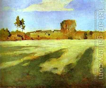 Field after Harvest 1897 by Isaak Ilyich Levitan - Reproduction Oil Painting
