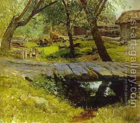 Footbridge Savvina Sloboda Study 1884 by Isaak Ilyich Levitan - Reproduction Oil Painting