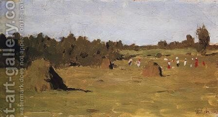 Haymaking Study 1900 by Isaak Ilyich Levitan - Reproduction Oil Painting