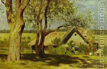 House with Broom Trees Study 1885 by Isaak Ilyich Levitan - Reproduction Oil Painting