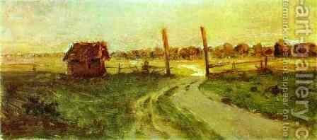 Landscape with an Izba Sketch 1899 by Isaak Ilyich Levitan - Reproduction Oil Painting