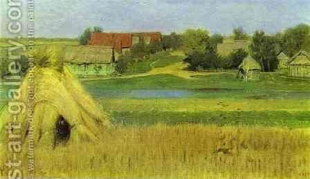 Sheaves and a Village Beyond the River 1885 by Isaak Ilyich Levitan - Reproduction Oil Painting