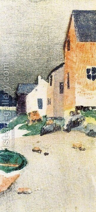 A Gray Day aka Houses on a Beach 1895 by Arthur Wesley Dow - Reproduction Oil Painting
