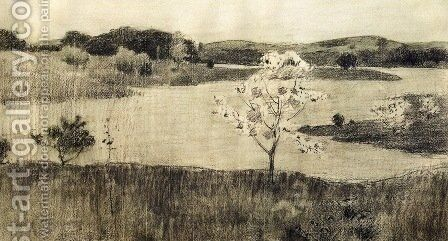 Japanese Tree in Bloom 1895 by Arthur Wesley Dow - Reproduction Oil Painting