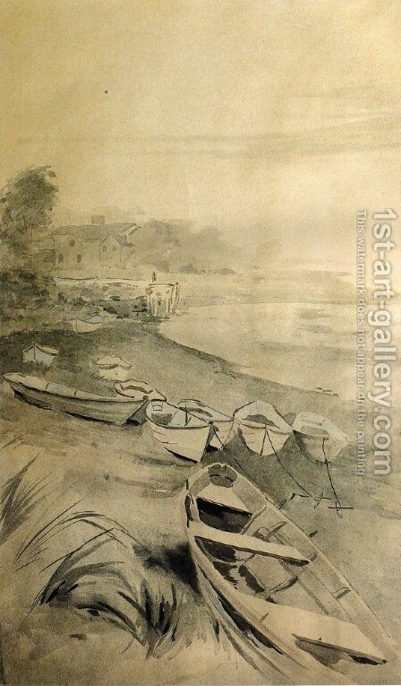 Rowboats along the Shore 1895 by Arthur Wesley Dow - Reproduction Oil Painting