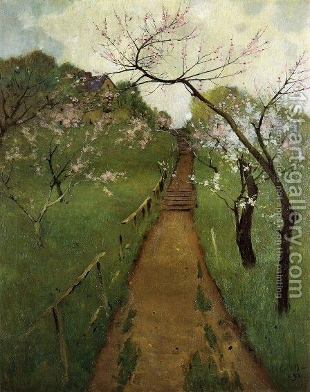 Spring Landscape with a Farmer and White Horse 1892 by Arthur Wesley Dow - Reproduction Oil Painting