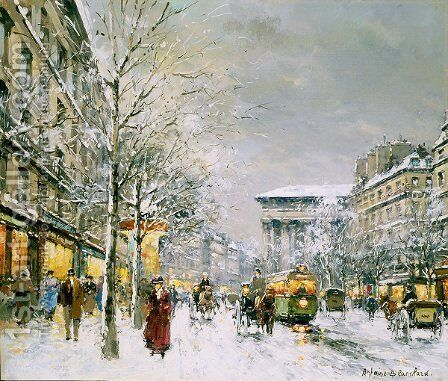 Boulevard de la Madeleine Sous la Neige by Agost Benkhard - Reproduction Oil Painting