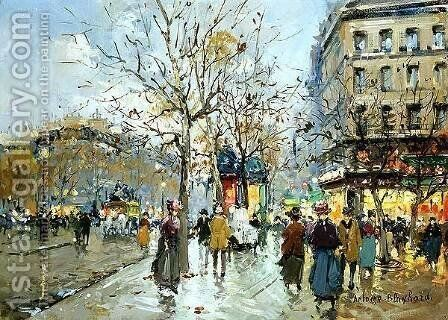 Boulevard Haussmann by Agost Benkhard - Reproduction Oil Painting