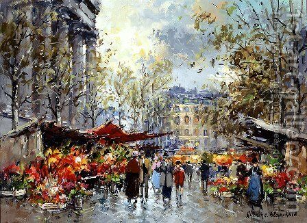 Flower Market Madeleine by Agost Benkhard - Reproduction Oil Painting