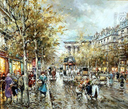 La Madeleine Boulevard des Capucines by Agost Benkhard - Reproduction Oil Painting