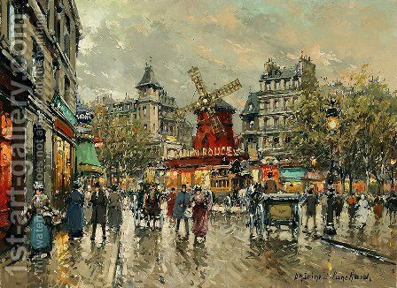 Le Moulin Rouge Place Blanche a Montmartre by Agost Benkhard - Reproduction Oil Painting