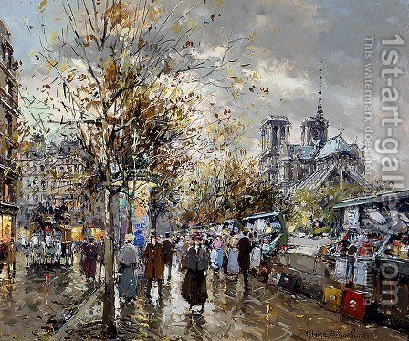 Paris Les Bouquinistes by Agost Benkhard - Reproduction Oil Painting