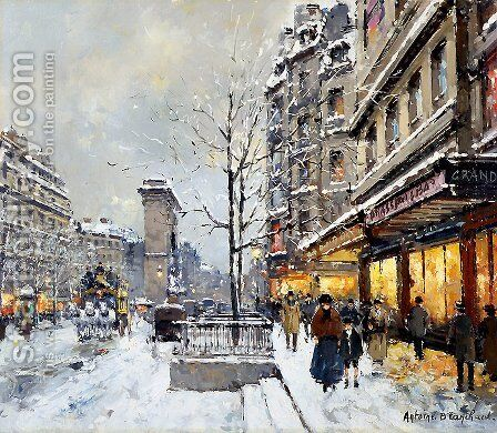 Porte St Denis Winter by Agost Benkhard - Reproduction Oil Painting