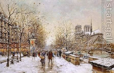 Winter in Paris Notre Dame by Agost Benkhard - Reproduction Oil Painting