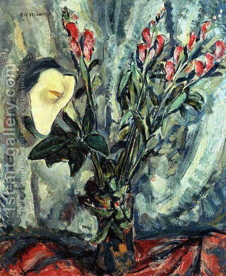 Floral Still Life with Calla Lily 1926-1928 by Alfred Henry Maurer - Reproduction Oil Painting