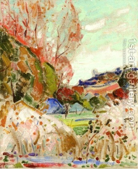 Landscape in Green and Pink Date unknown by Alfred Henry Maurer - Reproduction Oil Painting