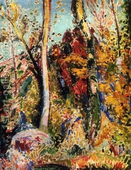 Landscape with Trees 1909 by Alfred Henry Maurer - Reproduction Oil Painting