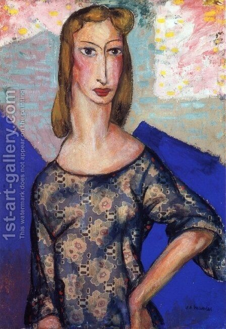 Portrait of a Girl in a Flowered Dress 1924 1 by Alfred Henry Maurer - Reproduction Oil Painting
