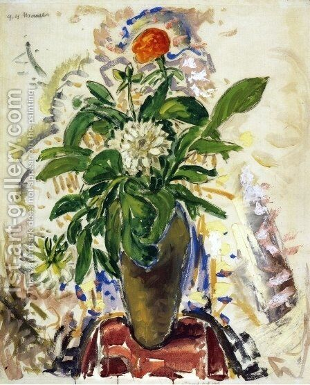 Still Life with Orange Carnation 1926-1928 by Alfred Henry Maurer - Reproduction Oil Painting