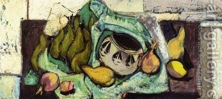 Still Life with Pears and Indian Bowl 1928-1930 by Alfred Henry Maurer - Reproduction Oil Painting