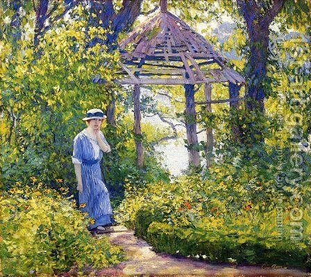Girl in a Wickford Garden New England by Guy Rose - Reproduction Oil Painting