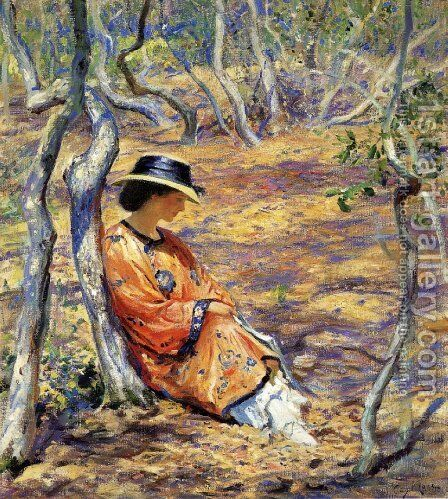 In the Oak Grove 1919 by Guy Rose - Reproduction Oil Painting
