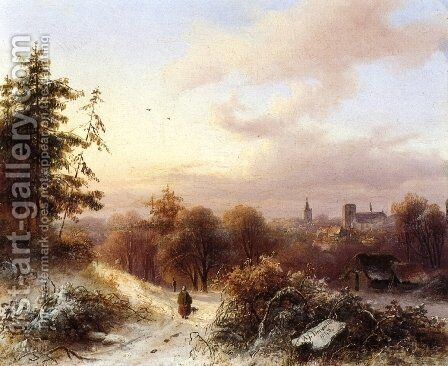 Winter A Peasant on a Path in a Wooded Landscape a Town in the Background by Alexander Joseph Daiwaille - Reproduction Oil Painting