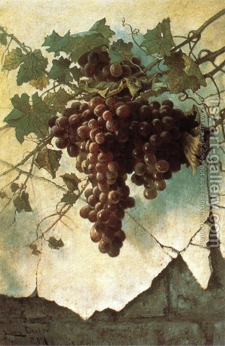 Grapes against a Mission Wall by Edwin Deakin - Reproduction Oil Painting
