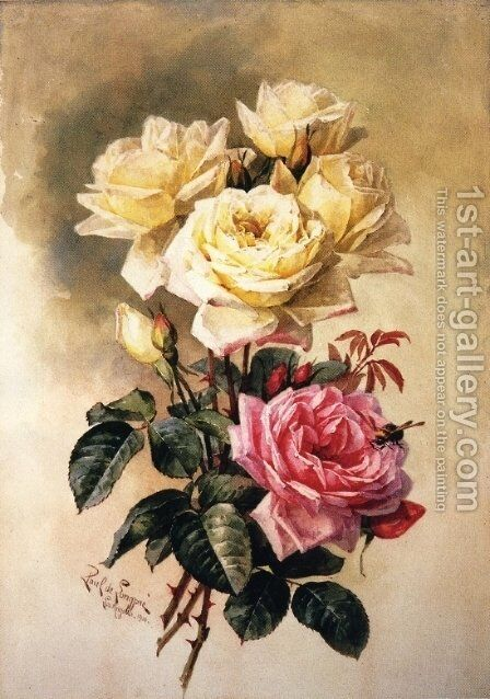 French Bridal Roses Painting By Paul De Longpre