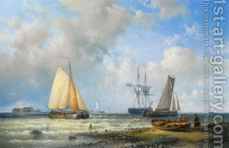 Dutch Barges in a Calm by Abraham Hulk Snr - Reproduction Oil Painting