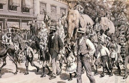 The Circus is in Town by Arthur Burdett (Sr.) Frost - Reproduction Oil Painting