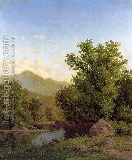 Spring Landscape along a River by Charles Warren Eaton - Reproduction Oil Painting