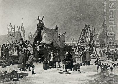 The Fair on the Thames 2 by (after) Clennell, Luke - Reproduction Oil Painting