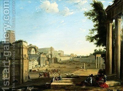 The Campo Vaccino Rome by (after) Claude Lorrain (Claude Gellee) - Reproduction Oil Painting